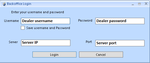 Binary backoffice login