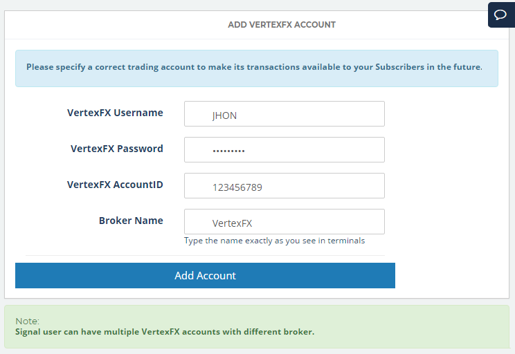 Add VertexFX Accounts